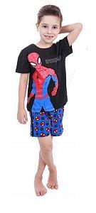 Pijama Infantil Homem Aranha Marvel - Preto e Azul