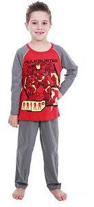 Pijama do Homem de Ferro- Avengers- Vermelho e Cinza