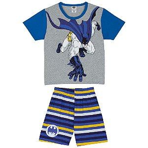 Pijama infantil Batman Brilha Escuro - Azul e Cinza - Lupo