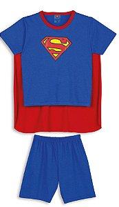Pijama Infantil Superman com Capa Removível Azul e Vermelho - Lupo