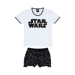 Pijama Short Doll Infantil Star Wars Disney  - Branco e Preto - Lupo