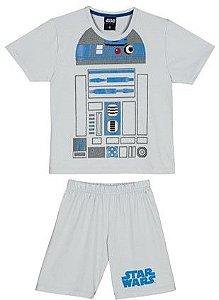 Pijama Infantil R2D2 Star Wars Cinza e Azul - Lupo