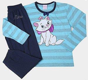 Pijama Gatinha Marie  -Disney - Azul Listrado - Lupo