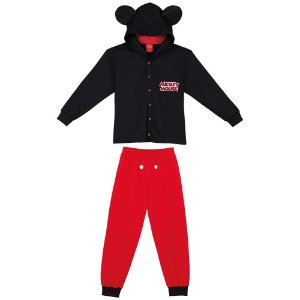 Pijama Mickey com Capuz Fleece - Disney - Lupo