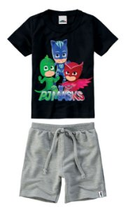 Conjunto de Camiseta e Bermuda - Pj Masks - Preto e Cinza - Malwee