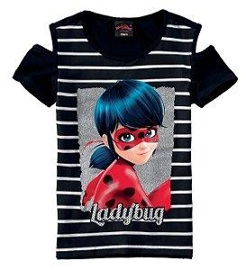 Blusa Ladybug - Miraculous - Preta Listrada - Malwee