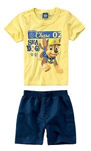 Conjunto de Camiseta e Bermuda - Patrulha Canina - Amarela e Azul - Malwee