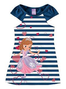 Vestido Listrado da Princesa Sofia - Azul Marinho e Branco - Malwee