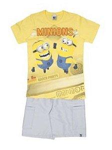 Conjunto de Camiseta e Bermuda - Minions - Amarelo e Cinza - Malwee