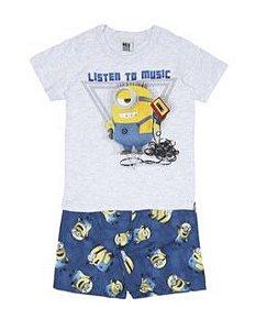 Conjunto de Camiseta e Bermuda - Minions - Listen Music - Malwee
