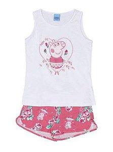 Conjunto de Blusa e Shorts - Peppa - Branco e Rosa - Malwee