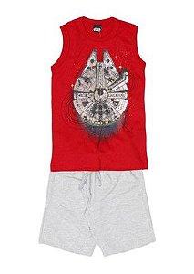 Conjunto de Regata Vermelha e Bermuda  - Millennium Falcon Star Wars - Malwee