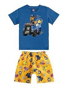 Conjunto de Camiseta e Bermuda - Chase - Patrulha Canina -Azul - Malwee