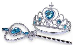 Kit de Trança, Varinha e Tiara da Frozen - Elsa