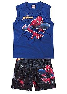 Conjunto de Regata e Bermuda - Azul - Homem Aranha -Brilha Escuro