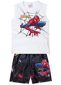 Conjunto de Regata e Bermuda - Branco - Homem Aranha - Brilha no Escuro
