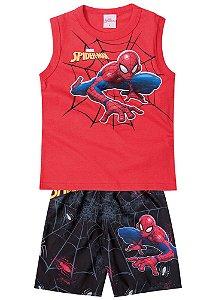 Conjunto de Regata e Bermuda - Vermelho - Homem Aranha - Brilha no Escuro