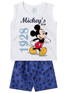 Conjunto de Regata e Bermuda - Branco - Mickey - Disney Baby