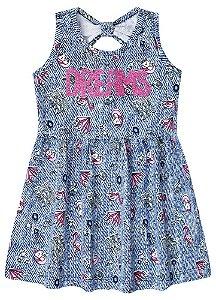 Vestido Infantil Unicórnio - Azul - Brandili