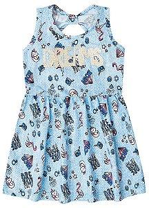Vestido Infantil Unicórnio - Azul Céu - Brandili