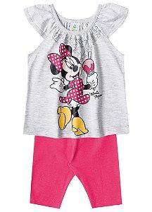 Conjunto de Blusa e Legging Capri - Minnie Cinza e Rosa - Disney Baby - Brandili