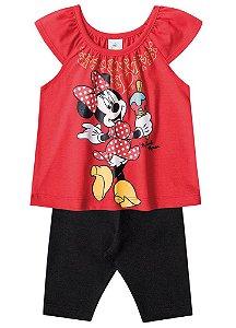 Conjunto de Blusa e Legging Capri - Minnie - Vermelho e Preto - Disney Baby - Brandili