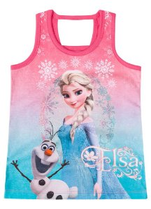 Blusa Disney Frozen  Elsa e Olaf - Coral - Brandili