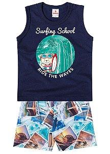 Conjunto de Regata e Bermuda - Ursinho Surfista - Azul Marinho