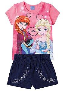 Conjunto de Blusa e Short Saia - Disney Frozen - Coral