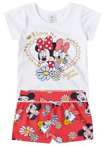 Conjunto de Blusa e Shorts - Minnie e Margarida - Branco
