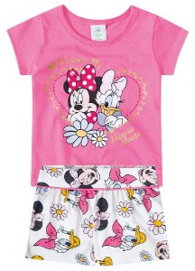Conjunto de Blusa e Shorts - Minnie e Margarida - Rosa