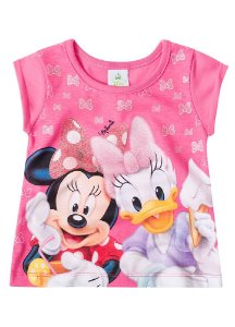 Blusa Baby da Minnie e Margarida - Rosa