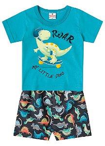 Conjunto de Camiseta e Bermuda - Dinossauro - Azul