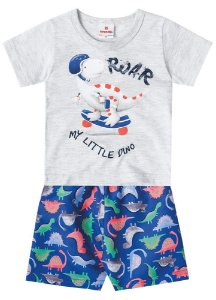 Conjunto de Camiseta e Bermuda - Dinossauro - Cinza
