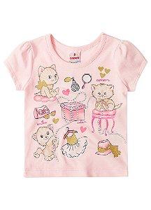 Blusa Baby Gatinhos - Rosa Bebê