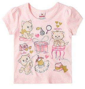 Blusa Bebê Gatinhos Rosa Claro - Brandili