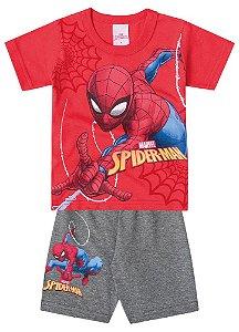 Conjunto de Camiseta Vermelha e Bermuda - Homem Aranha - Brilha no Escuro