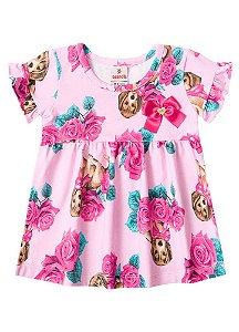 Vestido Floral - Cachorrinhos - Rosa