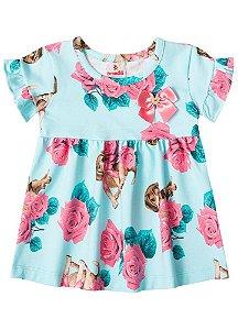 Vestido Floral - Cachorrinhos - Azul