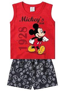 Conjunto Bebê Mickey Disney - Vermelho e Cinza - Brandili