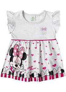 Vestido da Minnie Corações - Disney Baby - Cinza