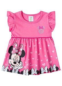 Vestido Bebê Minnie Corações - Disney - Rosa - Brandili