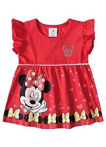 Vestido da Minnie Corações - Disney Baby - Vermelha - Brandili