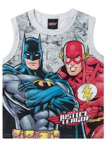 Regata Batman e Flash - Cinza Mescla - Liga da Justiça