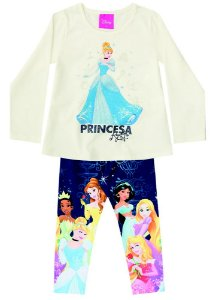 Conjunto de Blusa e Legging - Princesas da Disney - Cinderela