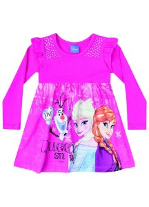 Vestido Elsa, Anna e Olaf - Disney Frozen - Rosa - Brandili