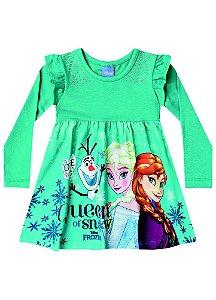 Vestido Elsa, Anna e Olaf - Disney Frozen - Verde