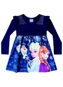 Vestido Elsa, Anna e Olaf - Disney Frozen - Azul Marinho - Brandili