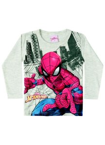 Camiseta do Homem Aranha - Brilha no Escuro - Cinza Mescla