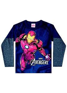 Camiseta do Homem de Ferro - Brilha no Escuro - Azul Petróleo